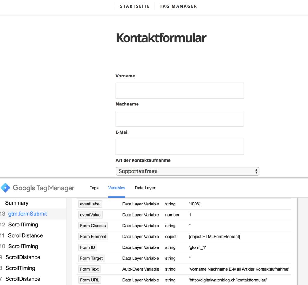 Google Tag Manager - Form Trigger in der Vorschau prüfen