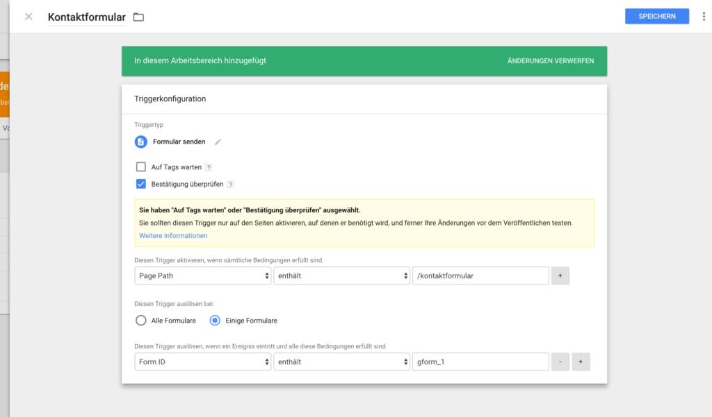 Google Tag Manager - Formular-Trigger einrichten