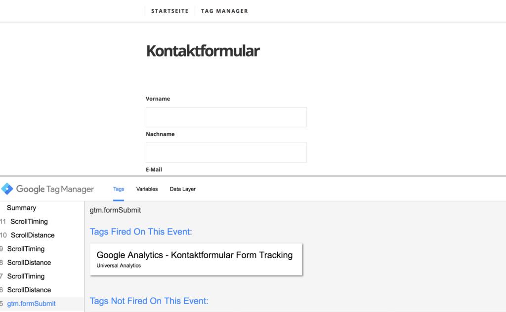 Google Tag Manager - Formular-Tracking im Vorschaumodus prüfen