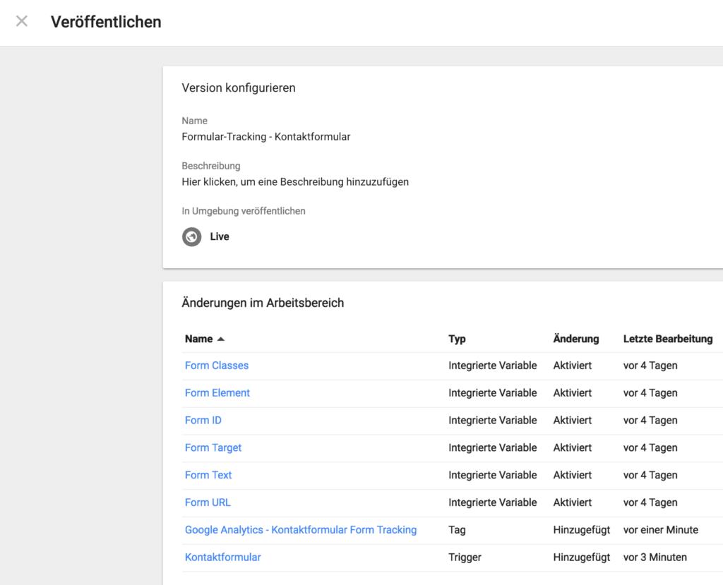 Google Tag Manager - Formular-Tracking veröffentlichen