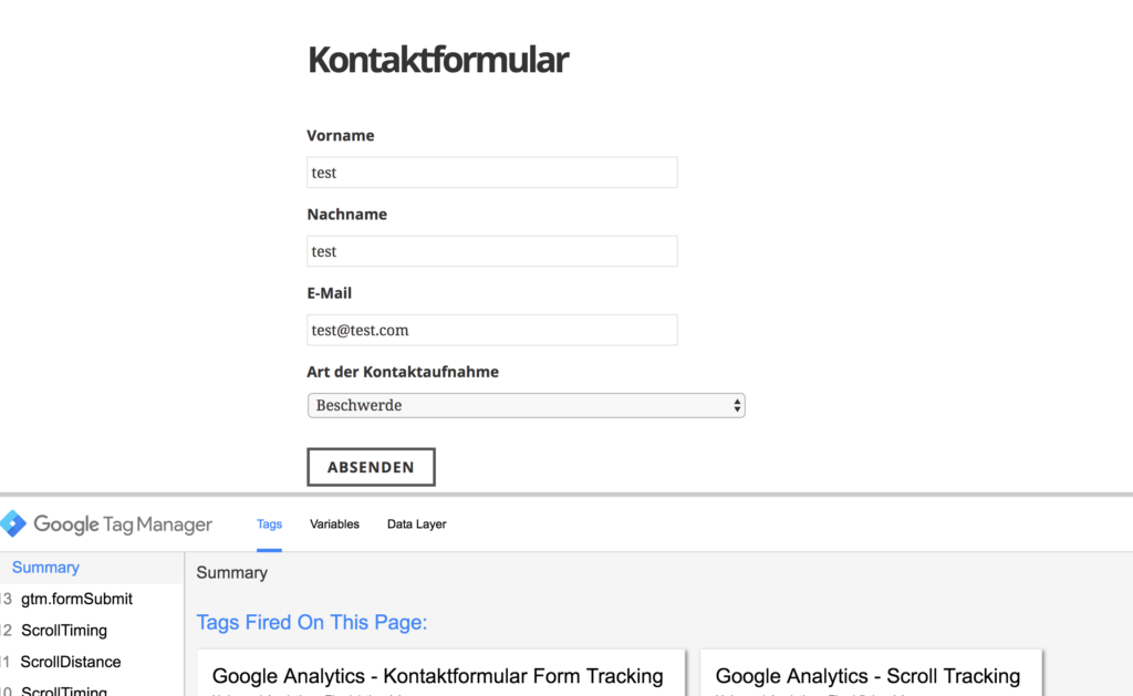 Previewmodus Google Tag Manager auf Kontaktformular