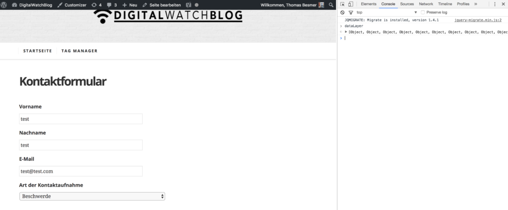 dataLayer in Chrome