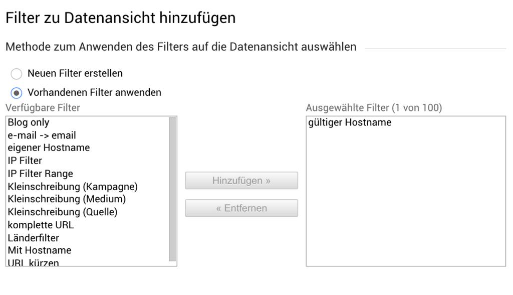 Vorhandene Filter übernehmen